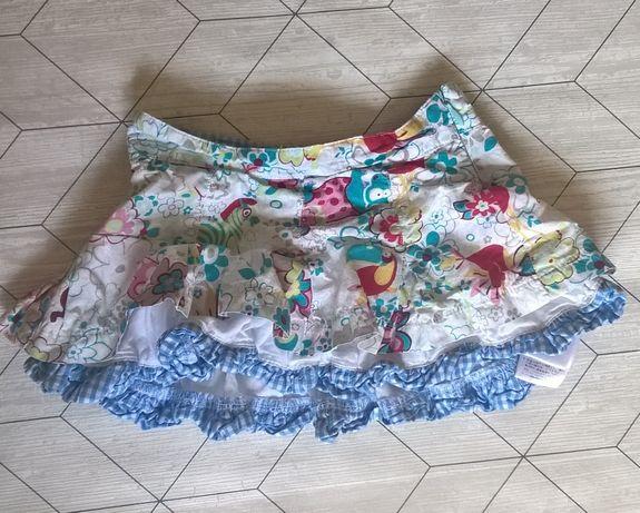 9-12 (74-80) Oilily мини-юбка с оборками, принт животные джунглей, кле
