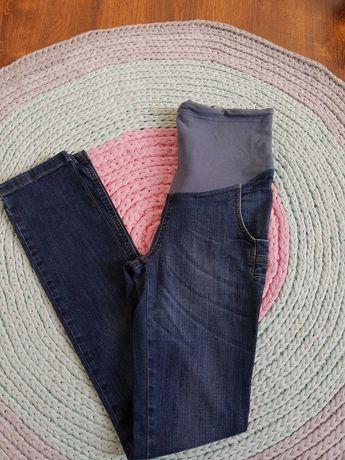 Jeansy ciążowe z przetarciami