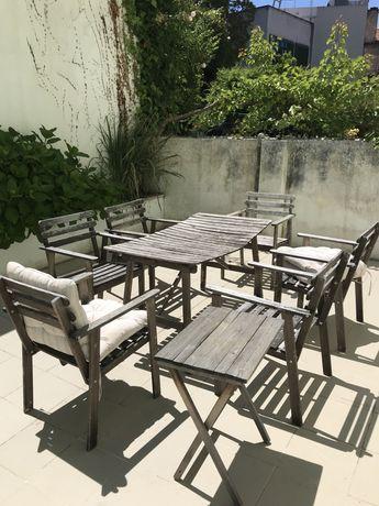 Mesa+6cadeiras+mesa de apoio