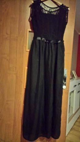 Sukienka długą czarna z koronką