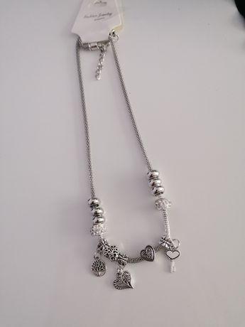 Naszyjnik celebrytki srebrny w stylu Pandora plus charmsy
