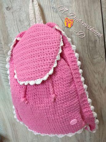 Розовый вязанный рюкзак с Единорожком для маленькой принцессы handmade