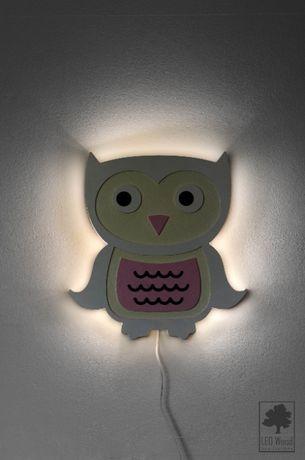 Lampa nocna, drewniana LED - Sowa