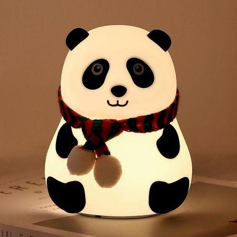 Мягкий светильник Панда детский ночник в спальню из силикона