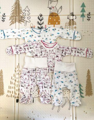 Одежда для новорождённого, распашонки, ползунки, шапочки, царапки, 56р