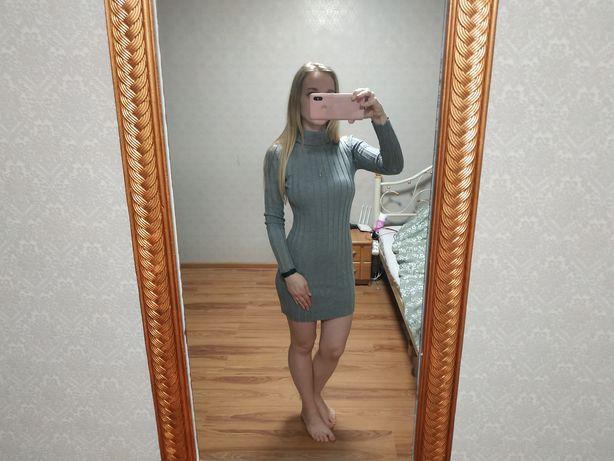 короткое серое платье