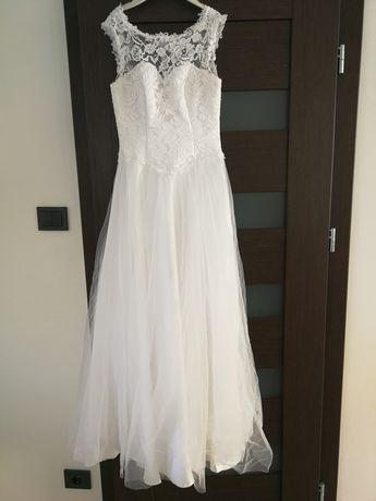 Suknia ślubna biel xs 34 koronka tiul