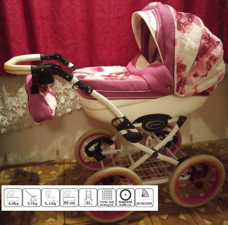 Детская коляска 2 в 1 Angelina Classic Fresh Розово-белая