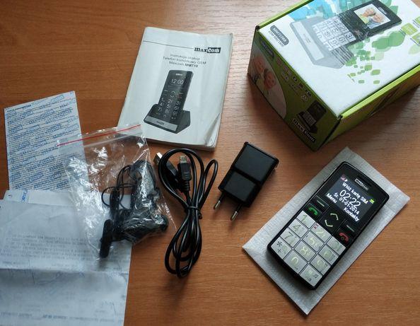 Telefon Maxcom MM710BB z akcesoriami dla seniora