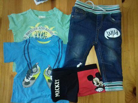 nowe spodnie 74 plus koszulki
