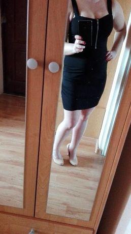 mała czarna sukienka obcisła zamek zamkiem elegancka h&m s m 36 38 hot