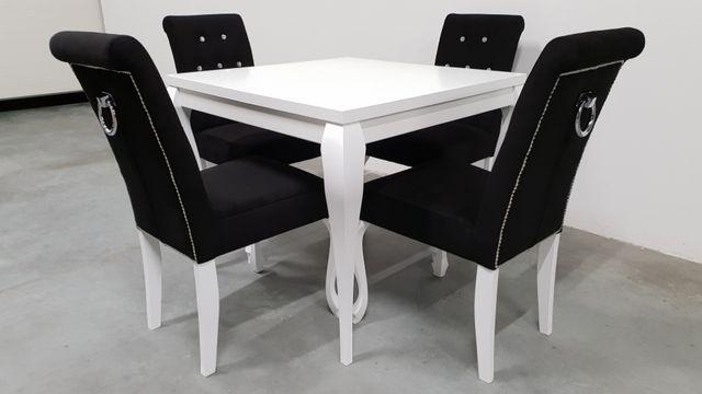 Zestaw chesterfield glamour stół 90x90+4 krzesła pikowane tapicerowane