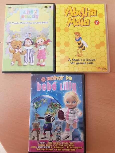 Pack 3 DVD infantis Andy Pandy/ Abelha Maia/ Bebé Lilly