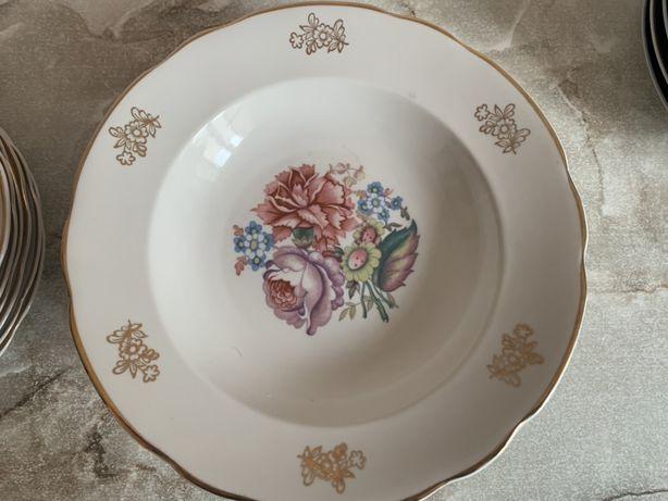 Тарелки суповые с позолотой