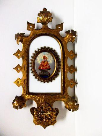 antiga imagem de Menino Jesus de Praga-pintura á lupa-moldura dourada