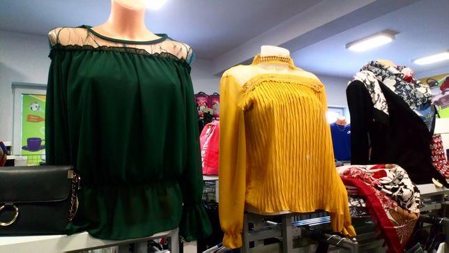 Piękna bluzka damska r. Uni szyfon koronka falbanki super modna
