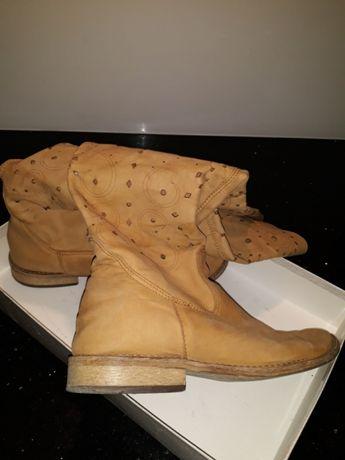 Buty beżowe wysokie r.35