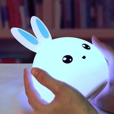 Подарок ребенку!Ночник мягкий из силикона - зайчик.Самая низкая цена