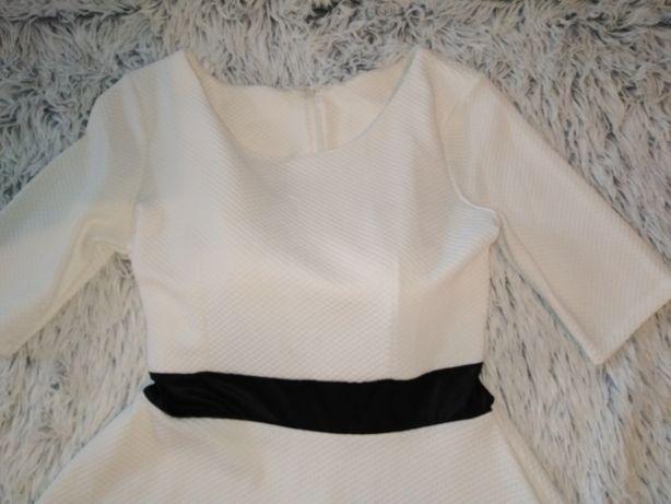 Sukienka biała MIDI wesele chrzest 40 42 L