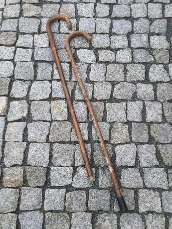Drewniane laski stare 2 sztuki