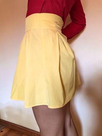 Спідниця лимонного кольору з підкладкою