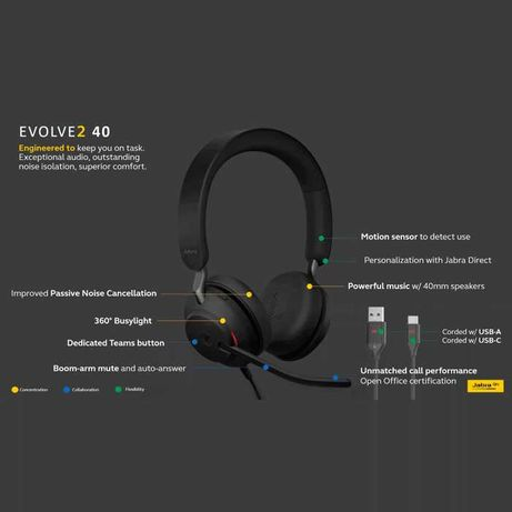 Jabra Evolve2 40 USB-C (Nowe/nieużywane)