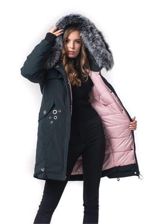 Зимняя парка Milhan размер М S, пуховик Милхан куртка пальто с мехом