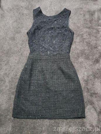 Nowa czarna sukienka WAREHOUSE koronka srebrny połysk rozmiar 36 S