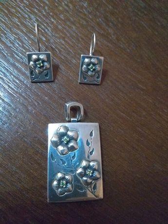 Kolczyki zawieszka oKomplet srebrny 925 srebro przewieszka