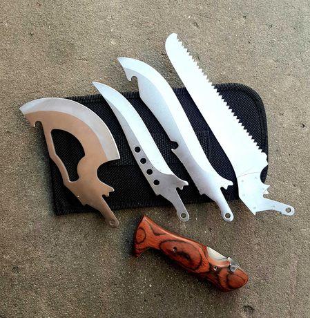 Туристический набор Егерь 4 в 1 (нож, пила, тесак, тесак) в чехле
