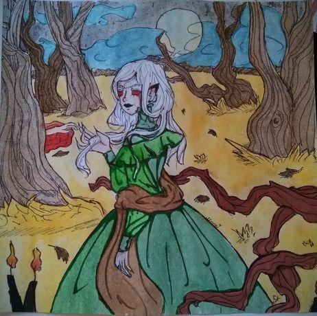 Картина ( рисунок) : Девушка в лесу