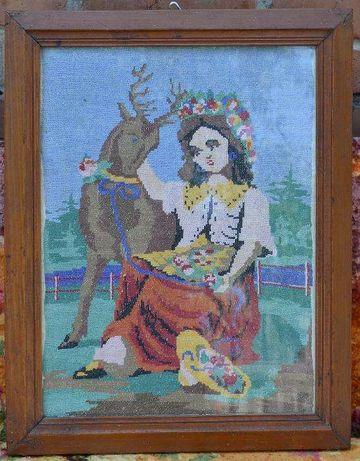 """Винтажная картина """"Девушка с оленем"""""""