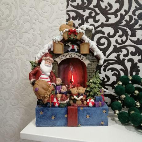 Статуэтка миниатюра Рождественский камин Санта Ёлка Новогодний декор
