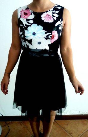 Vestido Preto Florido Novo C/ Etiqueta