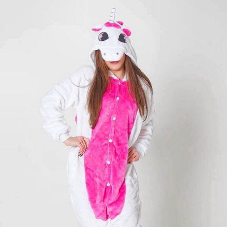 СУПЕРЦЕНА! Кигуруми единорог бело-розовый костюм в наличии