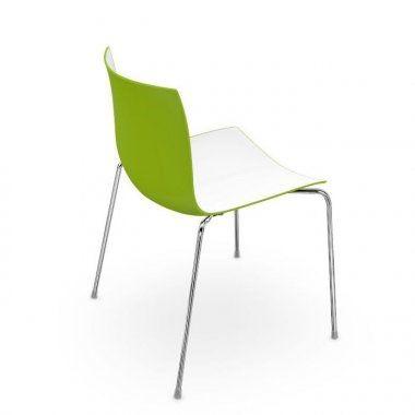 Conj. 4 Cadeiras Arper Catifa 46 Verde/Branco - ORIGINAL