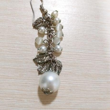 Сережки/кульчики перли зі срібними листочками