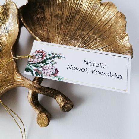 Winietka na stół weselny z egzotycznym kwiatem srebrnika PUDROWY RÓŻ