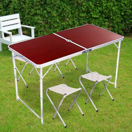 Стол для пикника раскладной со стульями Folding Table коричневый белый