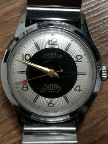 Delbana 17 Jewels lata 50 Murzynek Kolekcjonerski zegarek szwajcarski