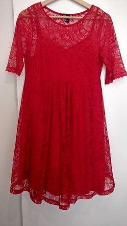 Sukienka koronkowa, elegancka, czerwona, ciążowa h&m mama roz. M (38)