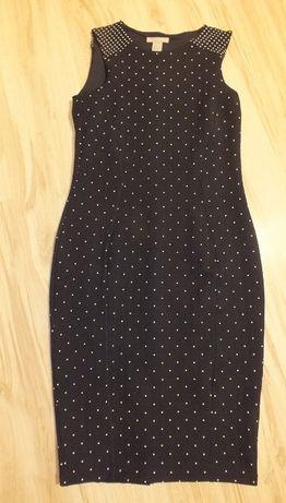 H&M sukienka ołówkowa w groszki święta 36 S
