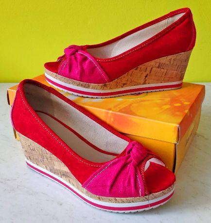 Czółenka, sandały na koturnie kolor czerwony rozmiar 41