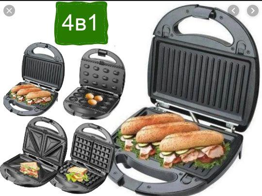 Сендвичница 4 в 1 вафельница гриль орешница тостер DOMOTEC сформам