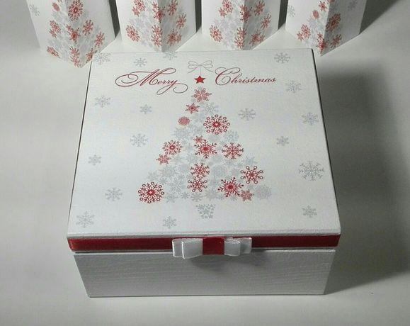 Pudełko, szkatułka, z choinką, merry christmas, święta, decoupage