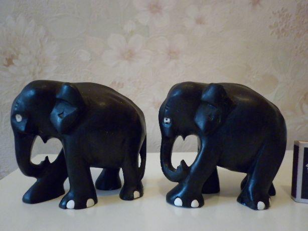 статуэтки слоны черное дерево- эбеновое Африка 10,5 см