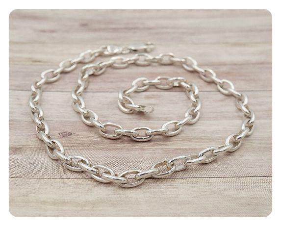 Srebrny 925 łańcuszek-ogniwka -praca ręczna