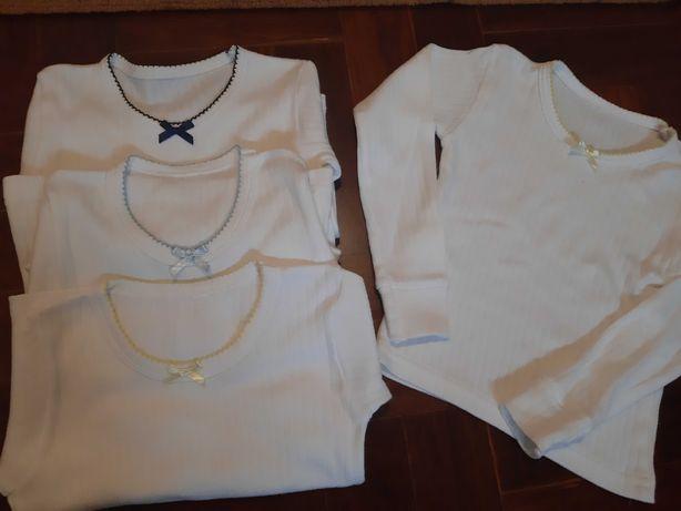 Camisolas interiores de menina cardadas,  tamanho 2-3 anos