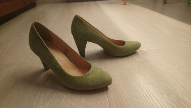 Zielone buty na obsasie półbuty czółenka skórzane rozm. 37