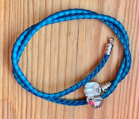 Pandora-nowa oryginalna dwukolorowa niebieska bransoletka ze skóry 38